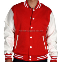 High Quality Best Selling White Leather Sleeves With Matching Work Wool Made Custom Blank Wholesale Letterman Varsity Jackets