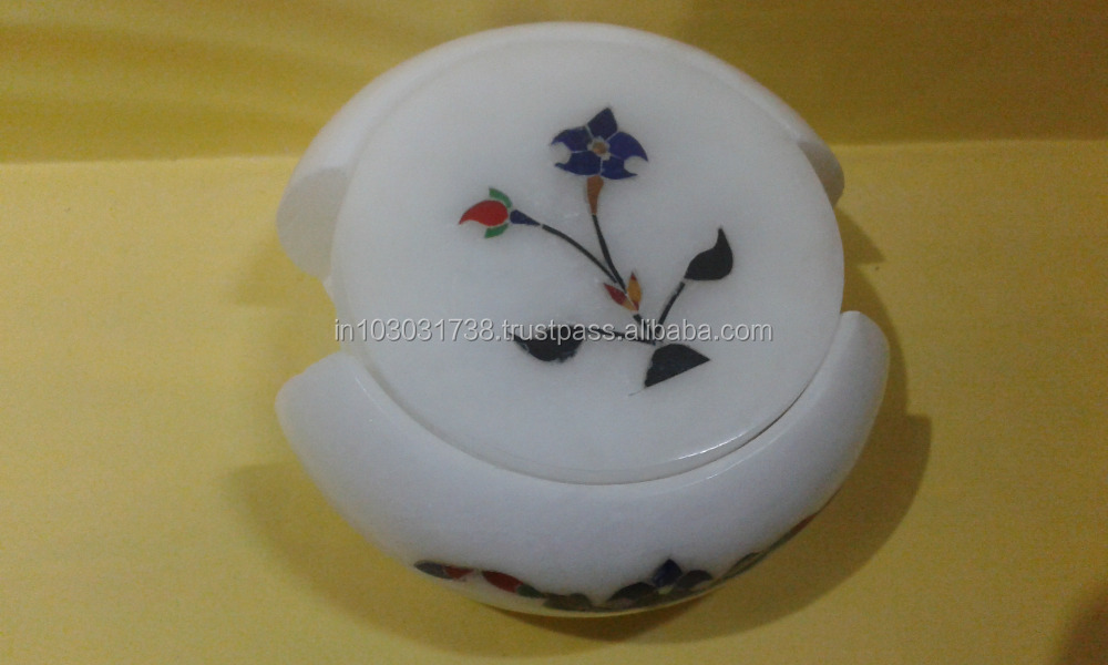 Marble inlay tea coasters Set Offered here is a new hand crafted Set