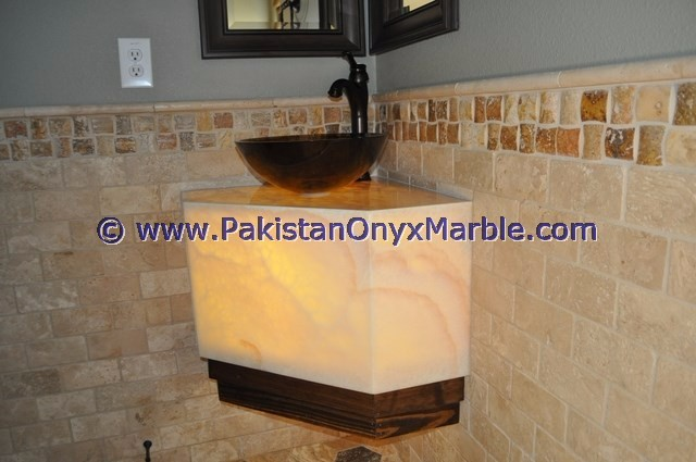 Backlit Onyx Pedestal Sinks And Vanity Tops Onyx Marble Furniture