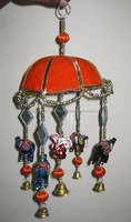 Indian Vintage Lac & Mirror Work Wind Chime Door Hangings For Home Decor