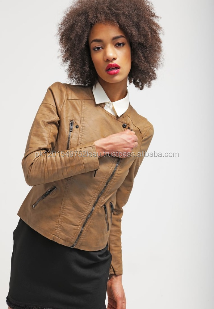 Custom Girl Casual Style Jacket Women Faux Leather Jacket Moterbike Brown Leather Jacket for Lady