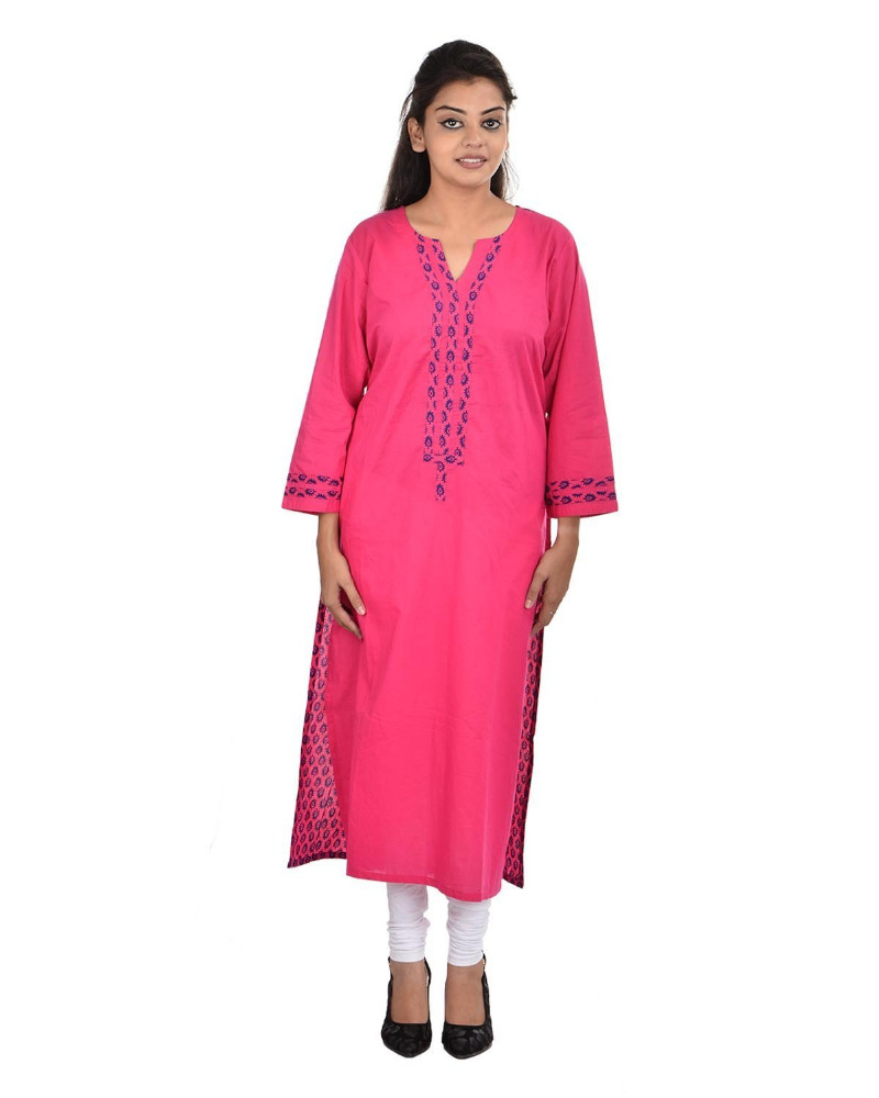 Plus Size Women's Pink Cotton Round Neck Kurti ( DMK_00070 )