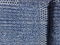 Hand Block Print Patchwork Kantha Quilt Indian Cotton Bedspread Indigo Color Throw