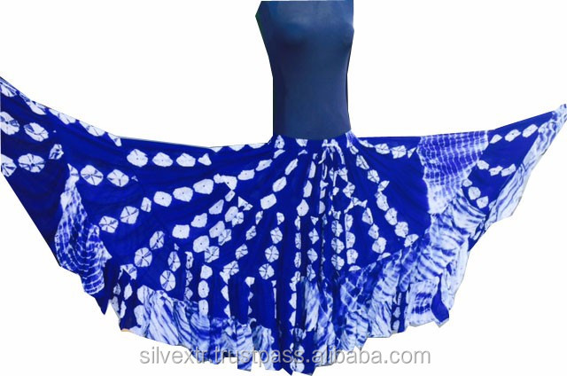 TRIBAL BELLYDANCE TIERED SKIRT Jaipur and fusion of scattered tye dye