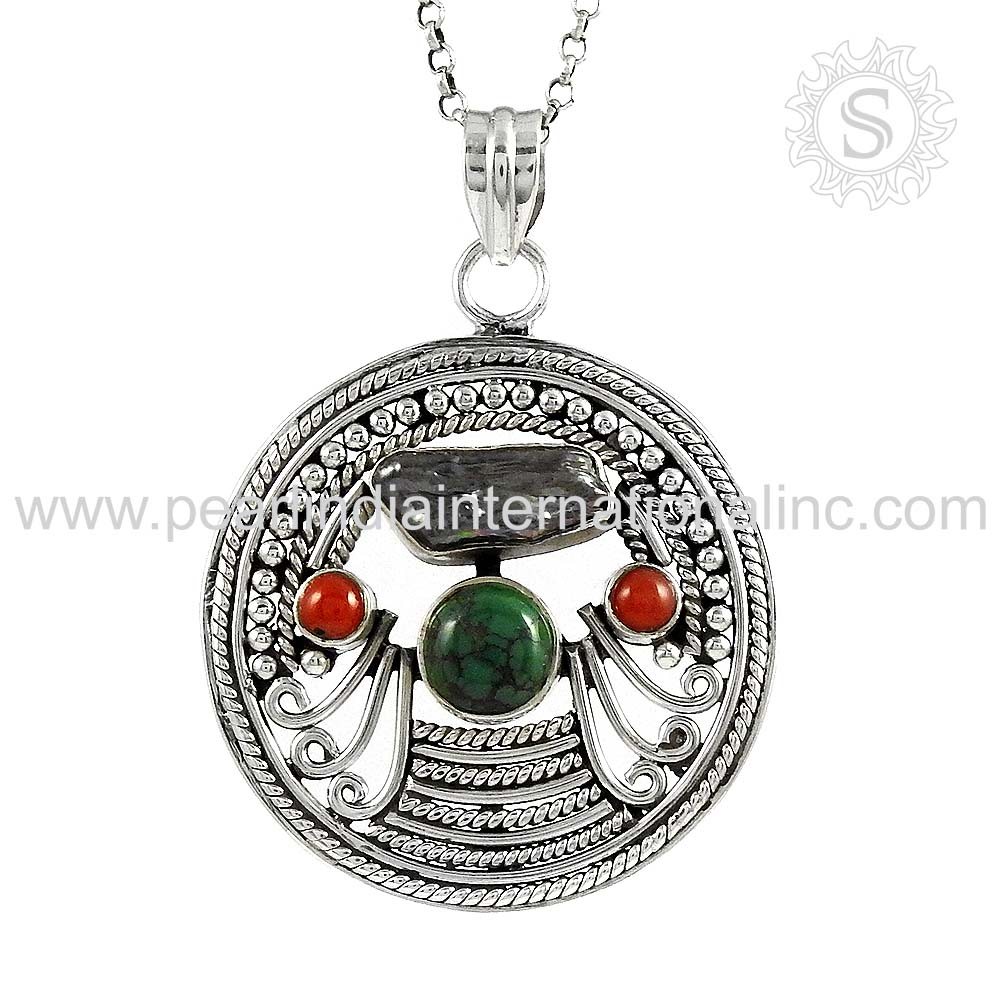 Three Stones Coral, Turquoise, South Sea Pearl Pendant 925 Sterling Silver Jewelry Wholesaler Silver Jewelry Supplier