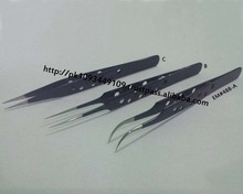 New Eyelash Extension Tweezers Black 3 piece Set / Eyelash Extension Tweezers MARIG SURGICAL CO