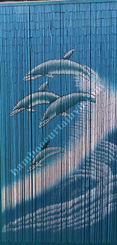 Vertical doorway hand painted bamboo curtain wave and dolphin
