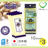 high quality and safe Japanese eye wash cleaning wet sheet for Pet with soy bean ingredient 10 sheets/pack x 3P