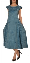 SNS Rayon Embroidered Long Dress Frock Stone Wash Casual Wear