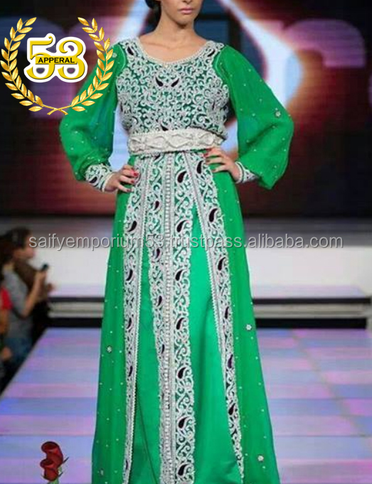 New Arrivals 2016-17 Parrot Green Glamorous Looking Caftan Hand Embrodery Stone, Crystal Beads,Pearls on It For European Girl