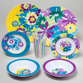 DINNERWARE MELAMINE FLORAL SPRING BOUQUET 144PC FLR DISPLAY #G05353
