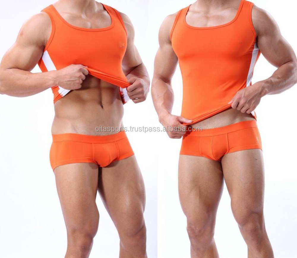 Tank Top for Mens Body Building Underwear Orange Wrestling singlet Hot Looking Workout Clothes Gym Outfit Tight Vest for Man