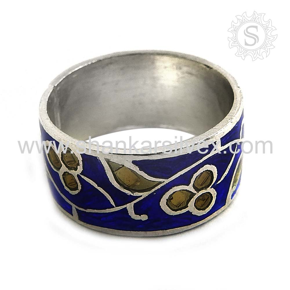 Engrave Flower Handmade Silver Jewelry Enamel Ring Fashion Silver Jewelry 925 Sterling Silver Ring