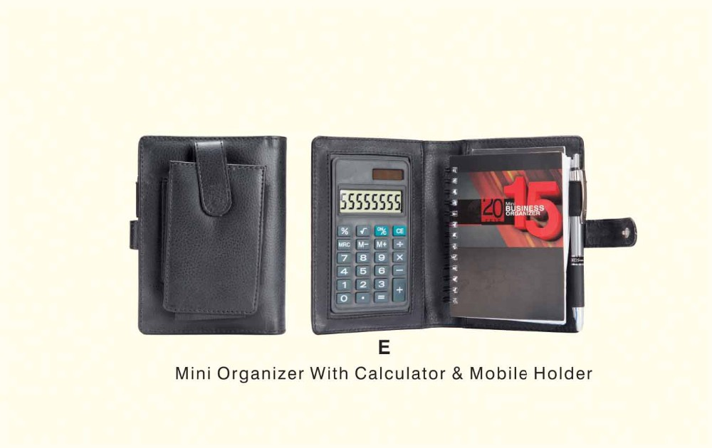 Business Gift set with Pure Leather / Genuine Leather Mini Organizer with Calculator & Mobile Holder