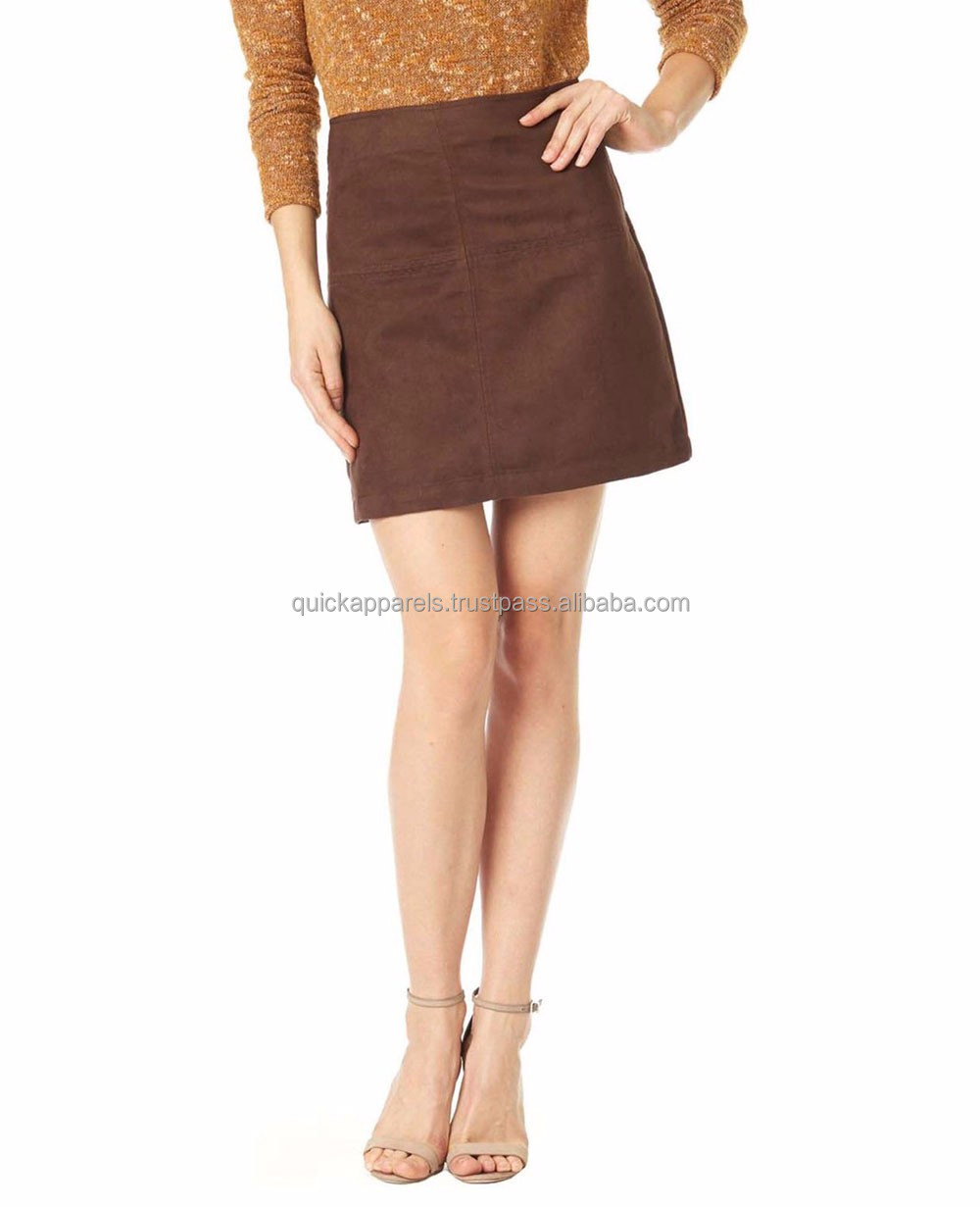 Custom made faux suede skirt pictures of a-line skirt latest design skirts women