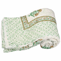 Cotton filing throw block printed handmade reversible floral hippie quilt