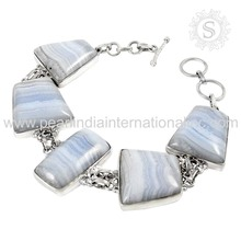 Glowing Blue Lace Agate Gemstone Bracelet 925 Sterling Silver Jewelry Wholesaler Silver Jewelry Supplier India