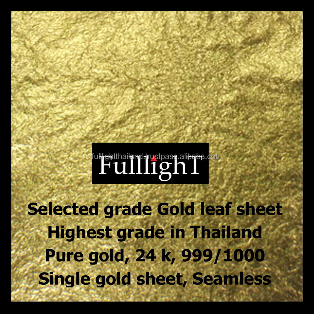 "Thai Tradition Gold Leaf 24 Karat 999/1000 Pure Gold 1.5"" x 1.5"" For Buddhist, Arts & Crafts, Beauty, Spa, Foods & Bakery"