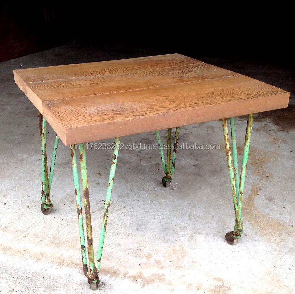 Vintage Industrial Rough Iron Small Dining Table With Wheels