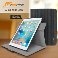 Top Quality roocase ORB 360 Rotating Folio Leather Cover Sleep/Wake Feature for iPad Air 2/Air 1 case Whole Sale (Canvas Black)