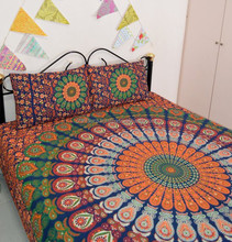 Indian bedspread wholesale mandala tapestry cotton bedspread printed bedsheet with matching pillows