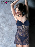 MIORRE BLUE LACE LINGERIE WITH STRING SET , SEXY BABYDOLL , HIGHTGOWN