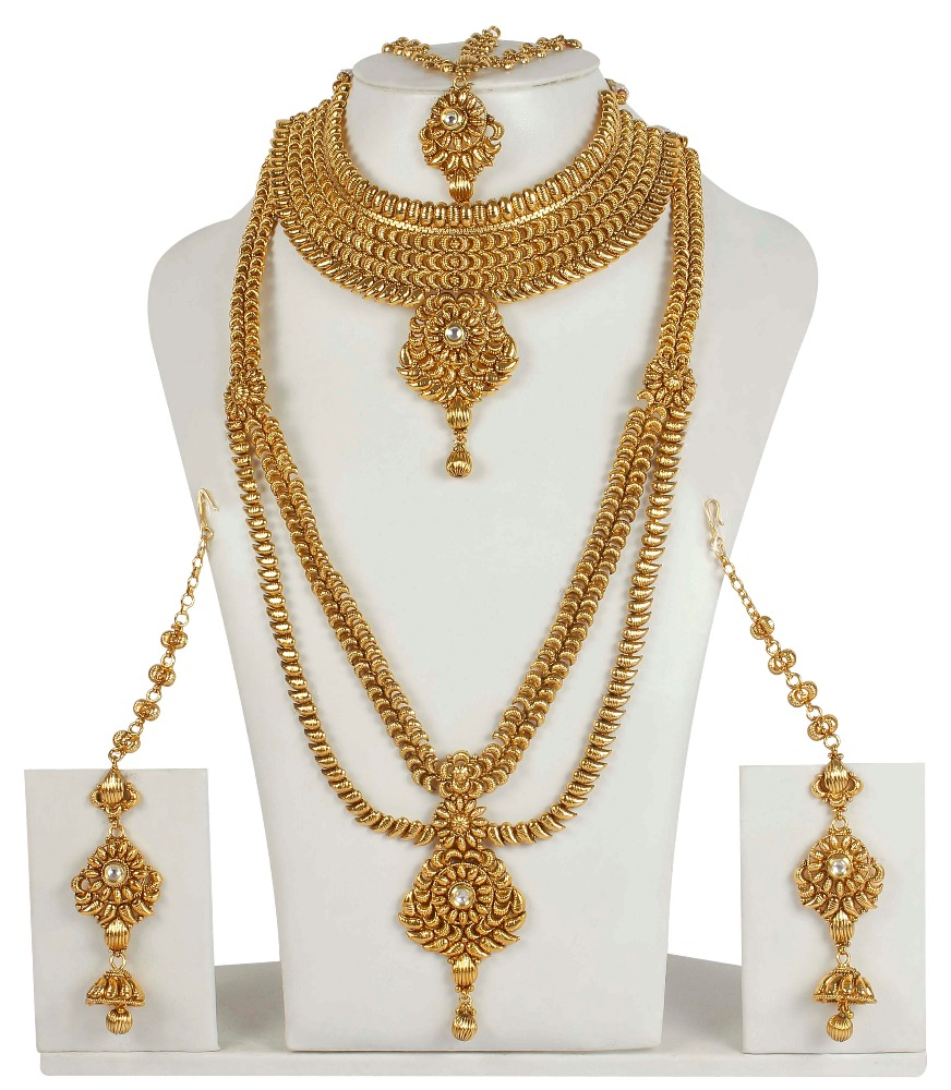 Indian Traditional Bollywood Style Gold Plated Polki Bridal Necklace Set Wedding Jewellery For Womens