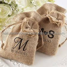 Wholesale Drawstring Jute Burlap Gift Bags With Printed Logo/Fashion Recyclable Custom drawstring pouch
