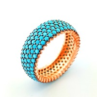Turkish Wholesaler 5Rows CZ Turquoise Stone Rose Gold Plated Pave Band Jewelry 925 Sterling Silver