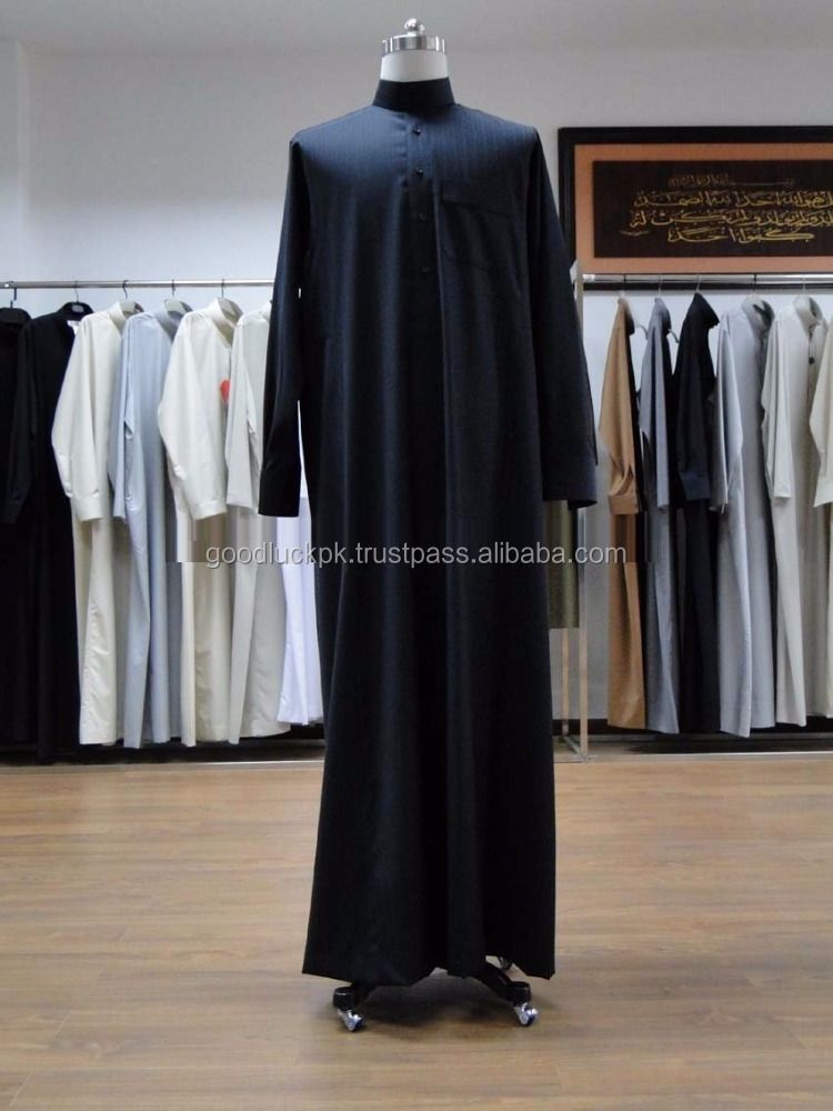 wholesale thobe - Muslim Men's thobe thoub thaub thawb - custom 100% cotton fashionable Mens thobe