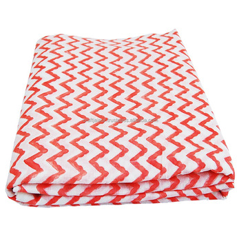 Handmade Zig Zag Printed Cotton Indian Wholesale Dressmaking Fabric