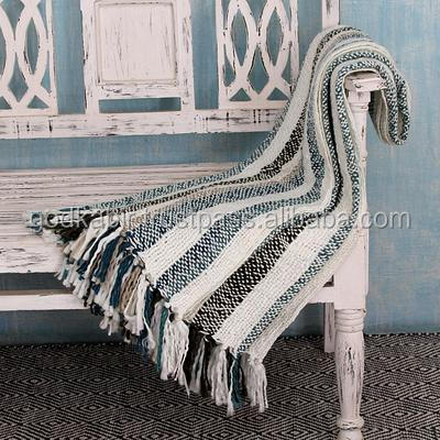 New modern Design 100 % best Material Made royal Choice Indian Striped Throw Blanket, 'Teal Kiss' blanket