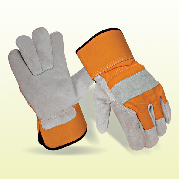 Split Leather and Cotton Cuff  Work Gloves