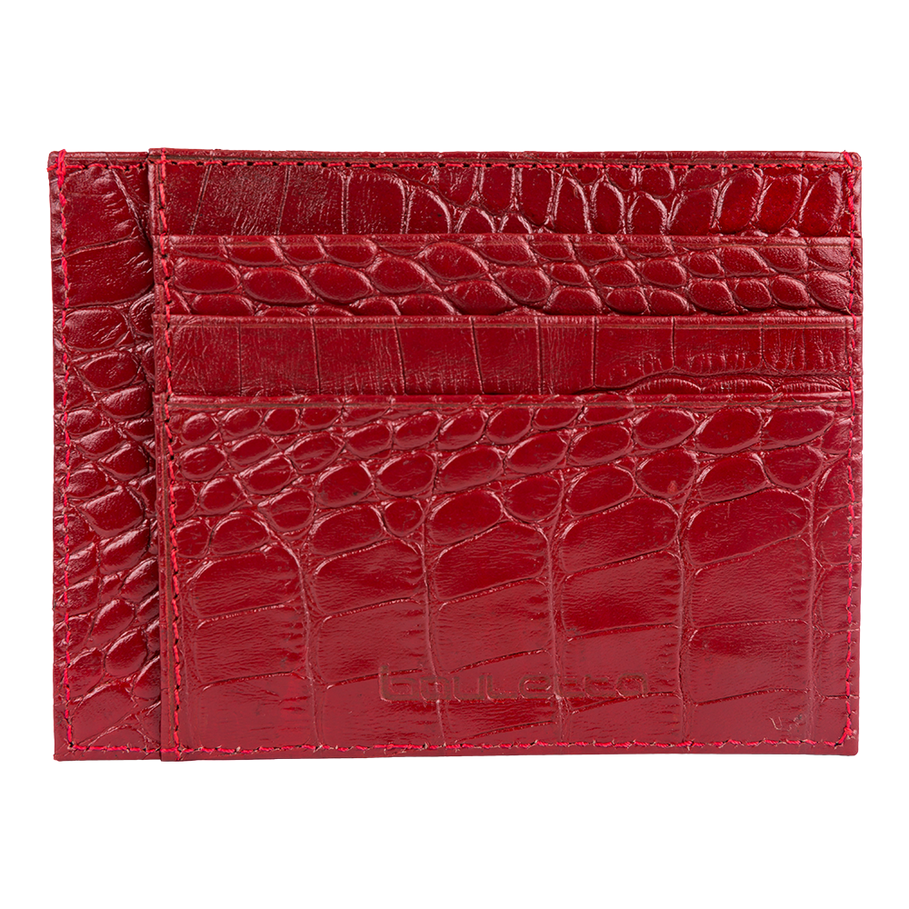 genuine leather red card case