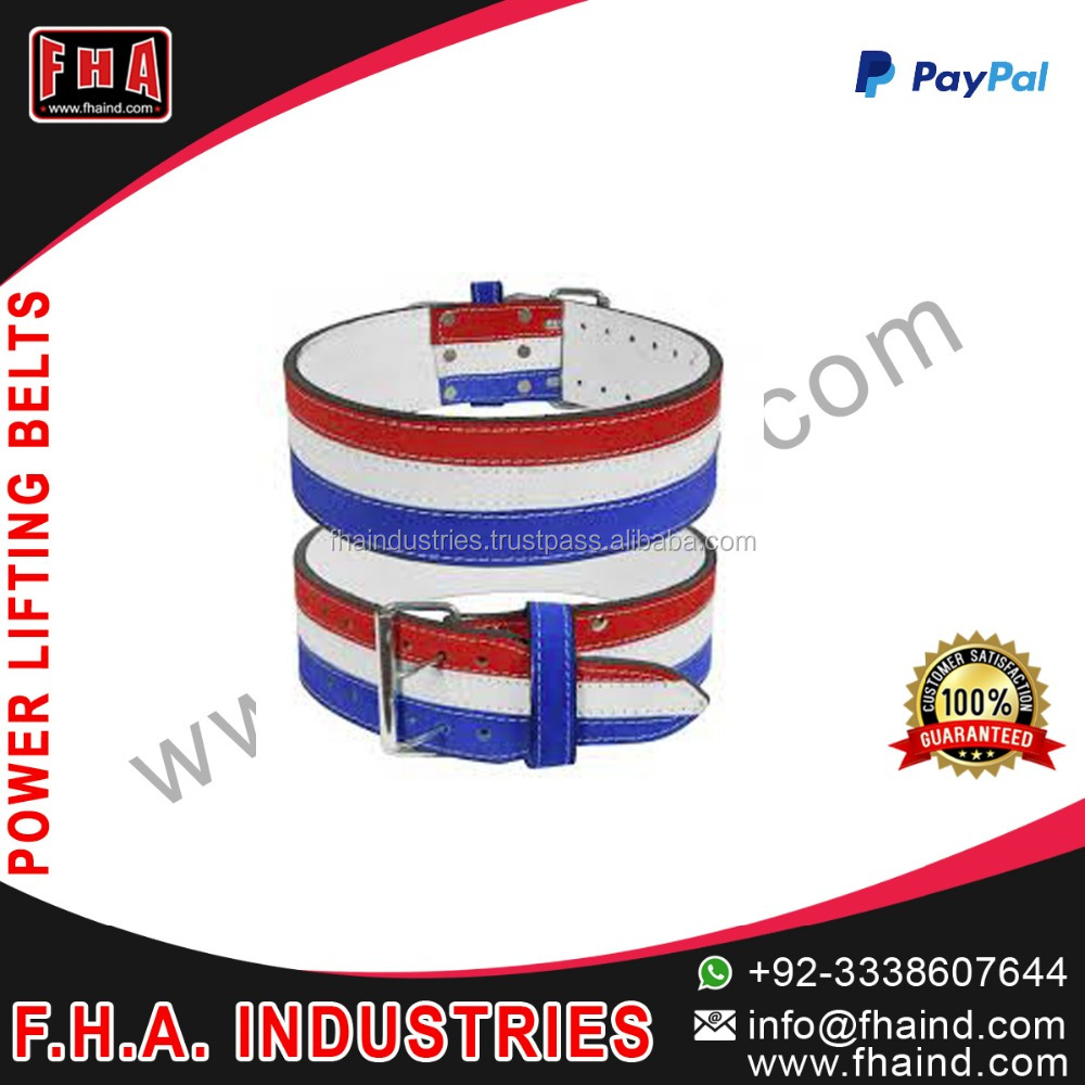 2016 2017 new products power lifting belt 13mm Leather weight training belt Tri Color lifting belts Suppliers from Sialkot