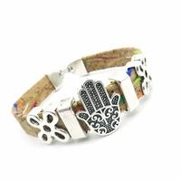 Natural cork made Fatima Hand women vintage Bracelet original lady handmade natural jewelry BR-139