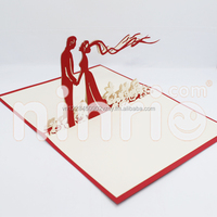 Wedding in garden 3d card pop-up card