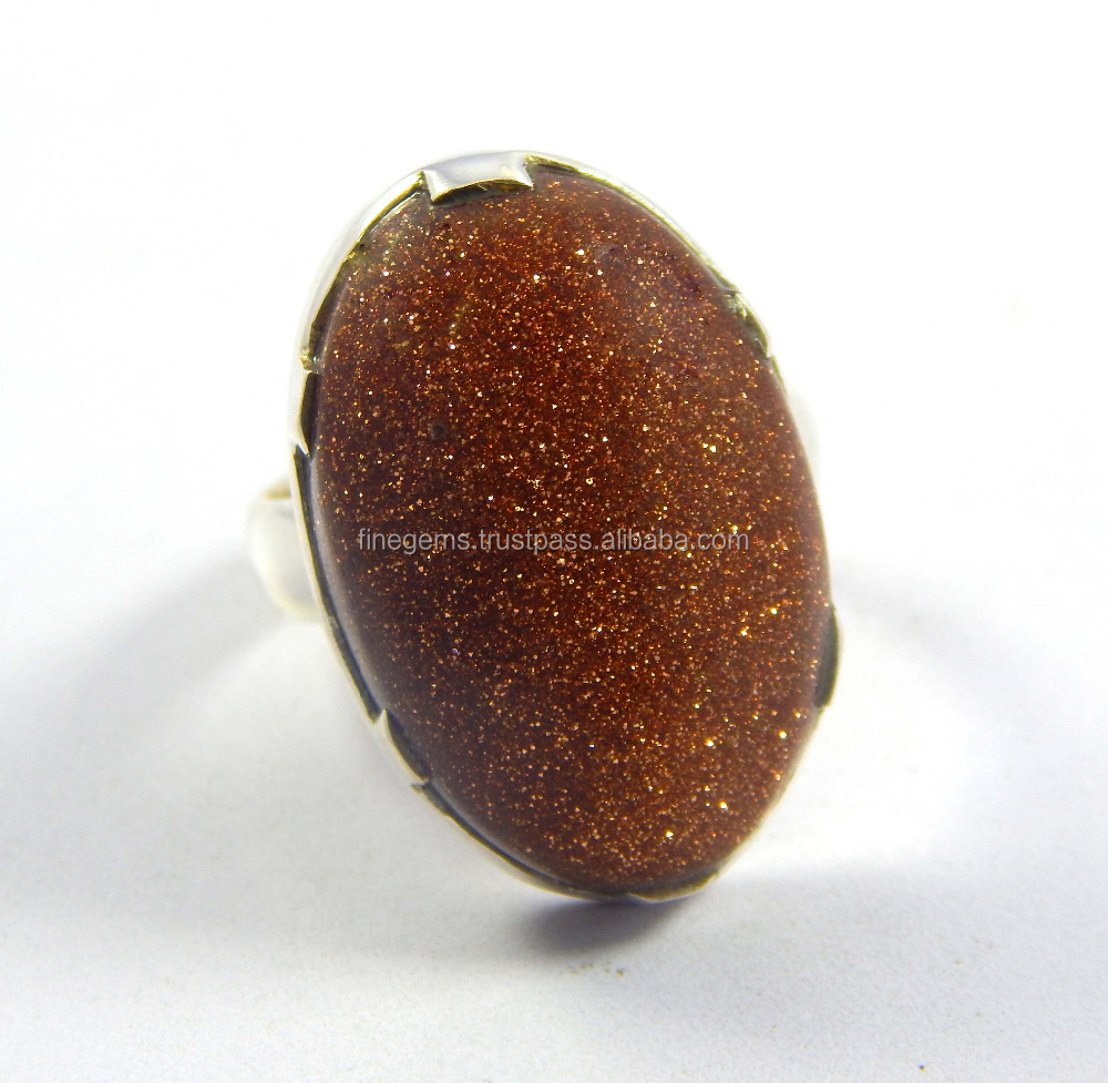 Natural Gold Stone Ring 925 silver jewelry