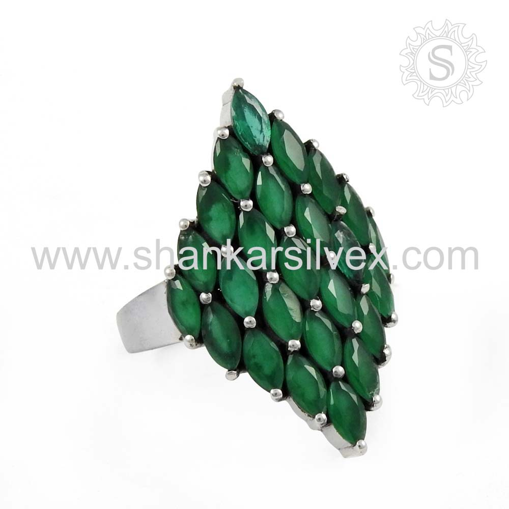 Brighten Green Onyx Pave Setting Ring Indian Silver Jewelry Ring Wholesaler Silver Jewelry Manufacturing