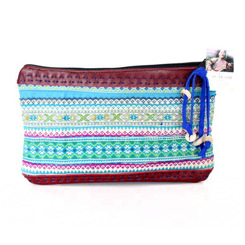 Hmong Hill Tribe Vintage Leather Clutch - Burgundy