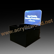 plexiglass lucite perspex clear square display box led illuminated thick Acrylic cube with light