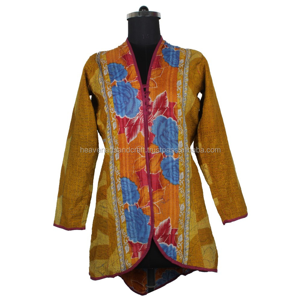Printed Reversible Full Sleeve Long Size Kantha Worked Cotton Winter Jackets with Buttons