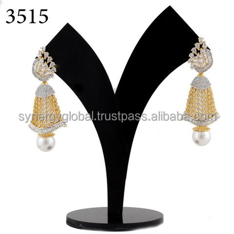 Wholesale American Diamond light weight Jhumkis-Fashion / Party wear Earring - Indian CZ Jewelry