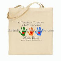 natural cotton shopping tote bag 2 side printed