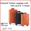 luggage caster wheel travel carrier Japanese wholesale black and camel bags vintage style trolley made of pvc