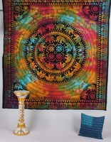 Indian Psychedelic Elephant Mandala Decor Cotton Handmade Hippy Queen Wall Hanging, Tapestry, Decorative Bedspread Throw