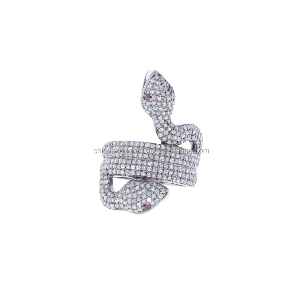 Rhodium Plating Pave Diamond Ruby & Pearl Gemstone 925 Sterling Silver Designer Snake Ring