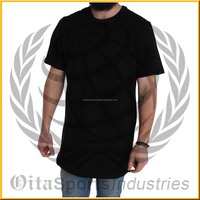 brand quality clothing t shirts men extended swag tshirts homme Urban Kpop Curve Hem Longline Hip Hop T-shirt