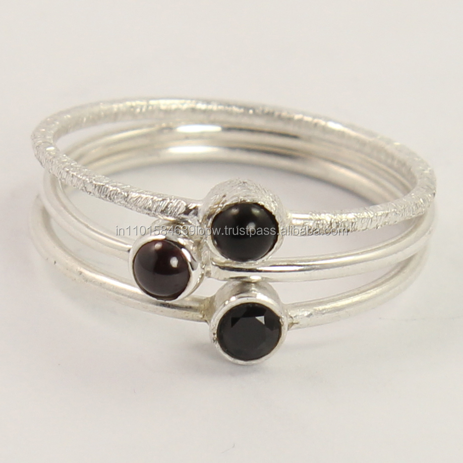 925 Sterling Silver Cute Ring Size Round Natural BLACK ONYX & GARNET Gemstones