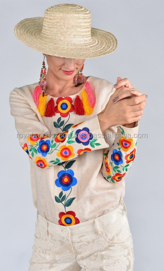 New 100% Natural Cotton Summer Exclusive Designer Aari Chain Embroidered Multicolor Flower Women Blouse With Tassel On Neck